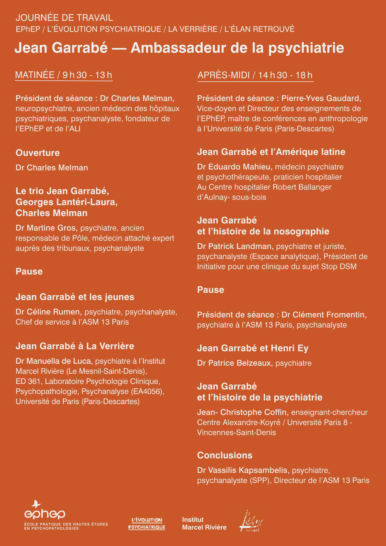 Programme de la journée hommage Jean Garrabé